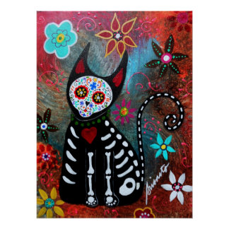 EL GATO V DAY OF THE DEAD PAINTING POSTER