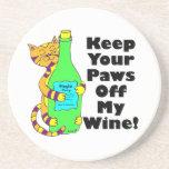 """El gato Winey """"guarda sus patas de mi vino """" Posavasos Diseño"""