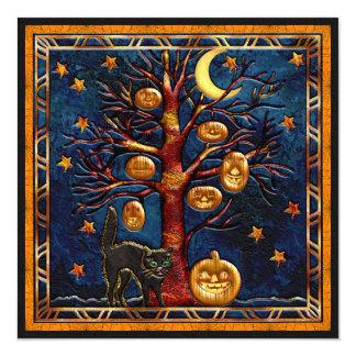 """El gato y el fiesta de las joyas de Halloween de Invitación 5.25"""" X 5.25"""""""