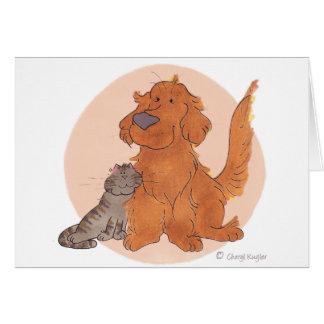 El gato y el golden retriever/le agradecen cardar tarjeton