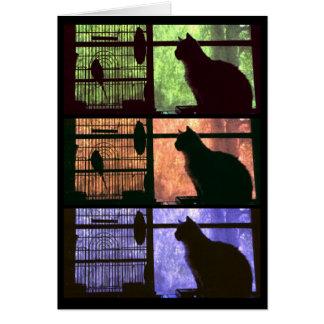 El gato y el pájaro - tarjeta