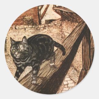El gato y el ratón en sociedad pegatinas redondas