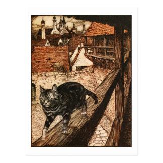 El gato y el ratón en sociedad tarjeta postal