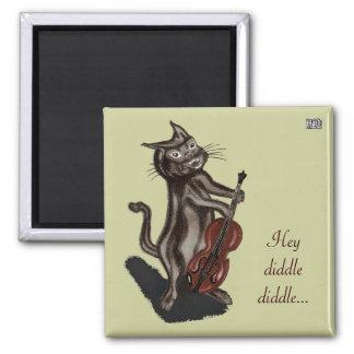 El gato y el violín imán cuadrado