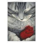 El gato y la tarjeta de condolencia del mascota de