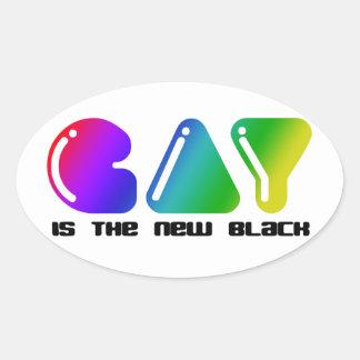 el gay es el nuevo negro pegatina ovalada