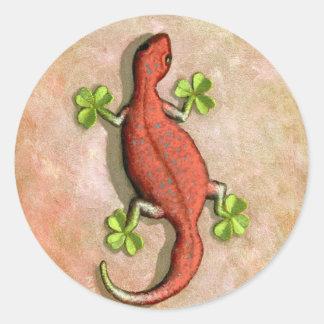 El Gecko de St Patrick Pegatina Redonda