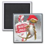 El Gecko visita los regalos de Polo Norte Imán De Frigorífico