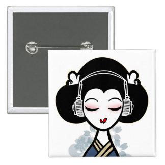 el geisha bate el botón pin cuadrado