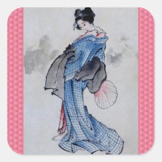 El geisha hermoso pegatina cuadrada