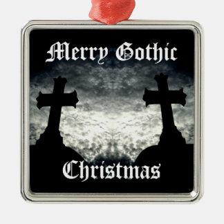 El gemelo cruza Felices Navidad góticos Adorno Cuadrado Plateado