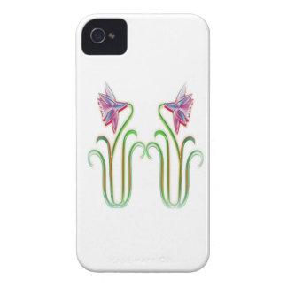 El gemelo lindo florece arte del ejemplo en 100 Case-Mate iPhone 4 carcasa
