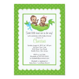 El gemelo lindo Monkeys invitaciones de la fiesta Invitación 12,7 X 17,8 Cm