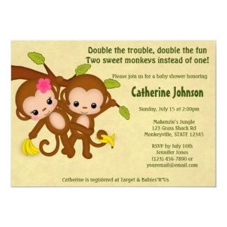 """El GEMELO Monkeys al CHICA del MUCHACHO de las Invitación 5"""" X 7"""""""