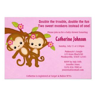 El GEMELO Monkeys las invitaciones MM2 ROSADO de Invitacion Personalizada