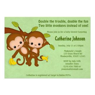 El GEMELO Monkeys las invitaciones MM2 VERDE de la Invitaciones Personalizada