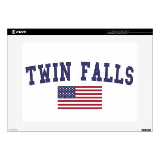 El gemelo se cae bandera de los E.E.U.U. Portátil Calcomanías