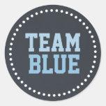 El género azul del bebé de la pizarra del equipo pegatinas redondas