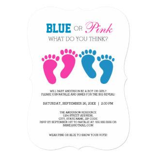 """El género azul o rosado de las impresiones del pie invitación 5"""" x 7"""""""