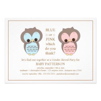 El género azul o rosado del bebé del búho revela a anuncio personalizado