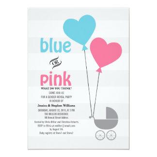 """El género azul o rosado del bebé revela al fiesta invitación 5"""" x 7"""""""