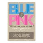 El género azul o rosado del bebé revela la invitaciones personales