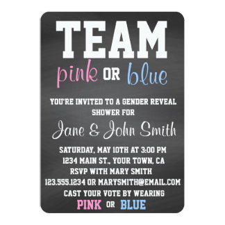 """El género azul o rosado del equipo revela la invitación 5"""" x 7"""""""