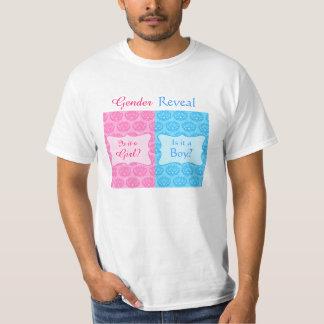 El género azul rosado del bebé del damasco revela remera
