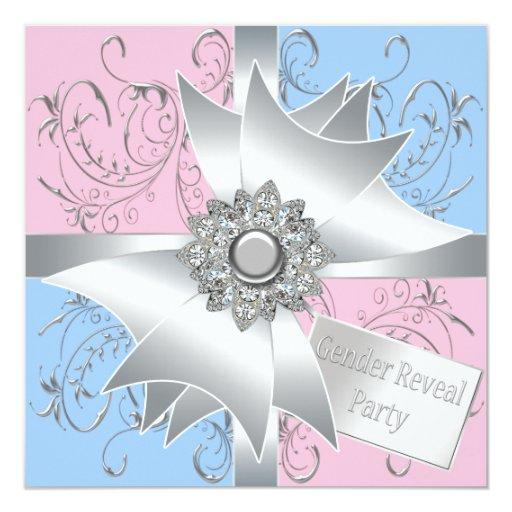 El género azul rosado elegante del arco del invitación 13,3 cm x 13,3cm
