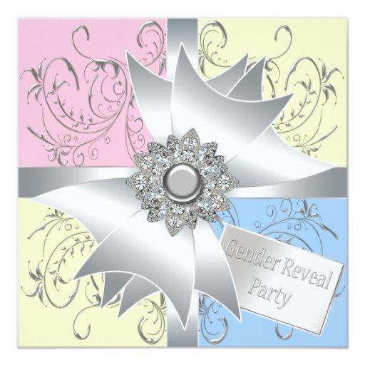 """El género azul rosado elegante del arco del invitación 5.25"""" x 5.25"""""""
