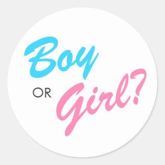 El género azul y rosado del muchacho o del chica pegatina redonda