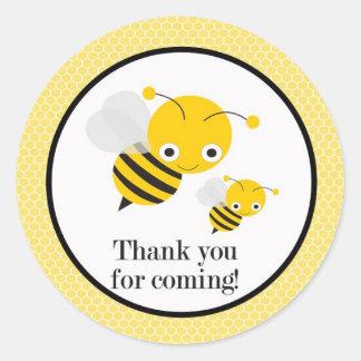 El género de la abeja revela a los pegatinas del pegatina redonda