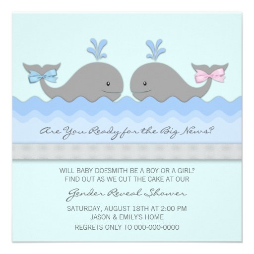 El género de la ballena del bebé revela invitaciones personales