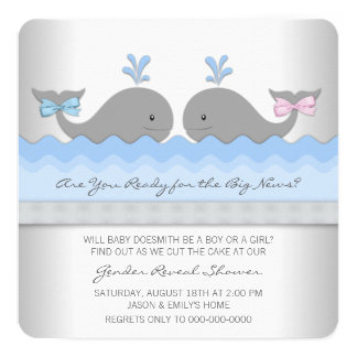 """El género de la ballena del bebé revela la ducha invitación 5.25"""" x 5.25"""""""