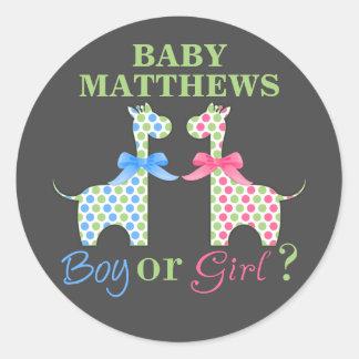 El género de la jirafa del muchacho o del chica pegatina redonda