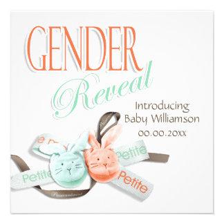 El género de los botines del conejito del bebé rev invitación