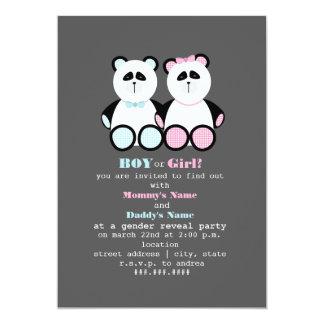 El género de los osos de peluche de la panda invitaciones personales