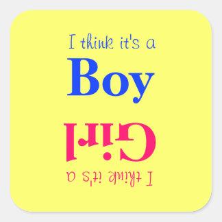 El género del bebé del muchacho o del chica revela pegatina cuadrada