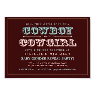 """El género del bebé del país del vaquero o de la invitación 5"""" x 7"""""""