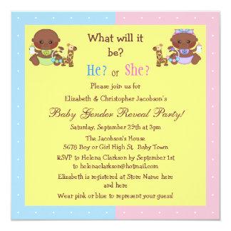 El género del bebé revela a bebés afroamericanos invitación 13,3 cm x 13,3cm