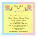 El género del bebé revela a bebés lindos del invitaciones personalizada