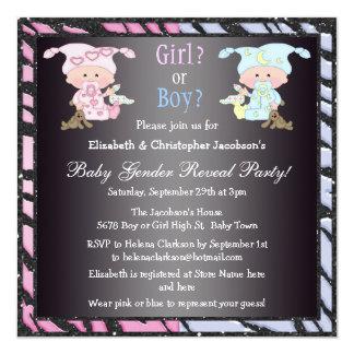 """El género del bebé revela bebés y conejitos lindos invitación 5.25"""" x 5.25"""""""