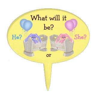 El género del bebé revela conejitos rosados y azul figuras para tartas