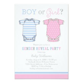 """El género del bebé revela el muchacho o al chica invitación 5"""" x 7"""""""