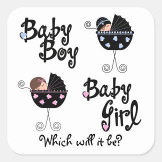 El género del carro de bebé revela a los pegatinas pegatina cuadrada