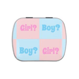 El género del muchacho o del chica revela jarrones de caramelos