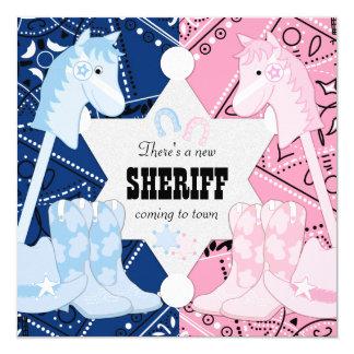 El género del vaquero del sheriff revela al fiesta invitación 13,3 cm x 13,3cm