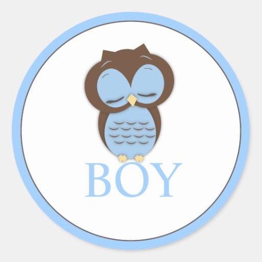 El género dulce del búho de Little Boy revela al Pegatina Redonda