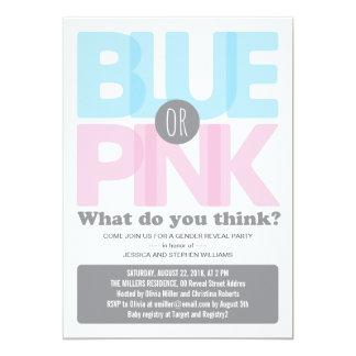 """El género elegante del bebé rosado o azul revela invitación 5"""" x 7"""""""