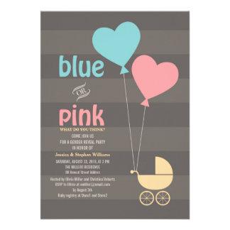 El género gris azul o rosado del bebé revela al fi